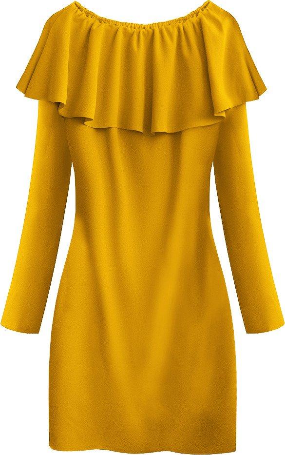 gelb-1 gerade kleid mit falbana (540art) gelb | damen