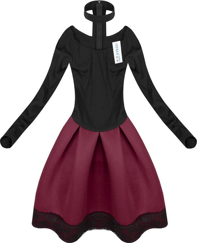 Neopren Kleid Mit Halskette Schwarz Weinrot 1464 Schwarz Rot