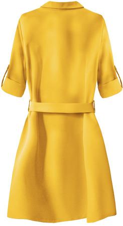 hochgekrempelte Ärmel kleid gelb 207art gelb  damen  kleider  goodlookinde
